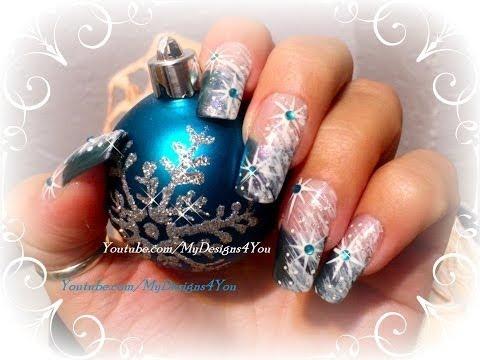 Easy Winter Star Nail Art Design For Beginners Tutorial