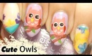 Cute Pink Owl Nail Art with Flowers