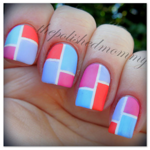 March Nail Art: Color Block. http://www.thepolishedmommy.com/2013/03/going-retro.html