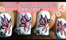 Unique Breast Cancer Awareness Butterfly Ribbon Nail Art ❤ (No Stickers!)