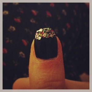 Navy nails with blinging tips using kardashians nail polish  Easy to do!