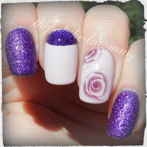 #nailartsep :fav flower. http://www.thepolishedmommy.com/2013/10/roses-are-red-violets-are-ooohhh.html  Rose water decals available at BornPrettyStore.com and use the code NKL91 for 10% off your order.
