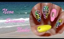 Neon Summer Leopard Nails