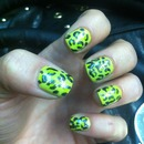 Acid Green/Yellow Leopard Print Nails