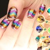 Rainbow Glitter Zig Zag Nails