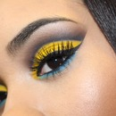 Yellow Cut Crease with Pop of Blue