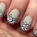 Pile of bones Halloween nails - mattified