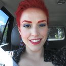 stage makeup: red with blue liner