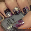 Purple Floral manicure