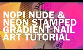 Nude to Neon Stamped Gradient- Nail Art Tutorial