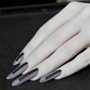 American Apparel in Factory Grey black electrical tape (cut into strips) Revlon top coat  More info here: http://bit.ly/Xr00v7