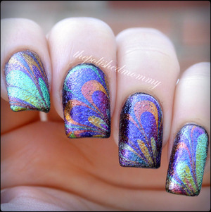 #nailartfeb #matchOOTD  http://www.thepolishedmommy.com/2014/02/colorful-interference.html  #fingerpaints #sallybeauty #loreal #dancelegend #watermarble