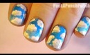 Blue Skies and Clouds Nail Art Tutorial