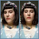 Peachy Keen Makeup And Periwinkle Outfit- New Flowercrown/Trimmed Bangs