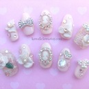Vintage Lace Cameo Bridal nails