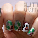 Penguin and Holly Nail Art :)
