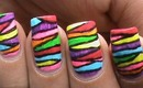 Rianbow Waves - Nail Art Colorful Neon Color Block Blocking Designs short / Long Nails Tutorial