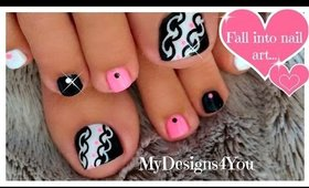 Hot Pink and Black Toenail Art Design ♥