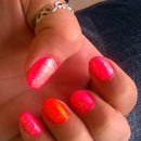 Hot Pink Glittery Mani with Neon Orange Accent Nail