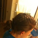 French braid into messy bun!