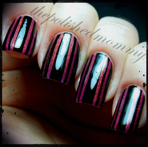 March Nail Art Challenge: Stripes. http://www.thepolishedmommy.com/2013/03/striped-perfection.html