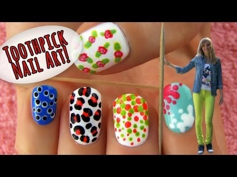 Toothpick Nail Art! 5 Nail Art Ideas & Designs Using Only A
