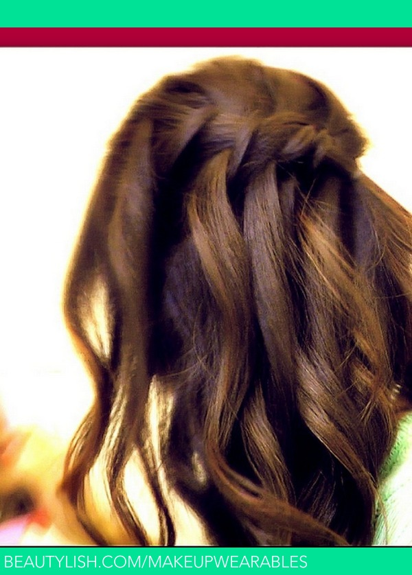 Waterfall Fishtail French Braid Half Up Hair Tutorial