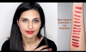 Red Lipstick Collection + Lip Swatches| Indian,Brown,Asian,Tanned,Medium Skin Tones |Manisha Moments