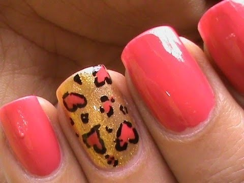 heart leopard nail art tutorial in french tip nails
