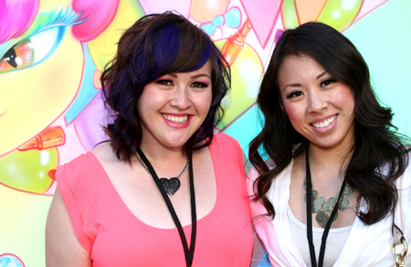 Beatylish Community Manager Jasmine Pansoy with friend at Beautylish IMATS LA event