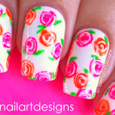 Neon Rose Nails