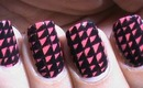 Nail Art Designs patterns black and red and pink nails