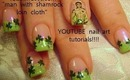 naked man with shamrock design: robin moses st. patrick day nail art tutorial