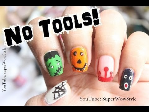 No Tools Nail Art Cute Halloween Nail Designs Beginners
