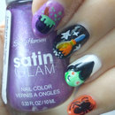 Halloween Witch Nail Art! Cauldron, Broom, Spider & Starry Night
