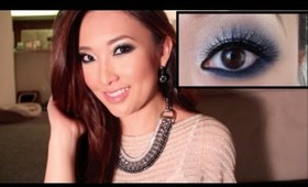 Midnight Kiss - New Years Eve Holiday Look - Smokey Sparkley Blue & Silver Eye Tutorial NYE