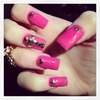 Hot Pink Studded Nails