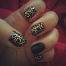 Black and white-gold nail design