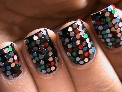 sequin nail art  colorful how to do sequin nail polish