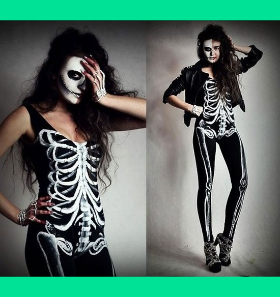 Halloween Skeleton Costume and Makeup Tessandra Rs - Costumes And Makeup