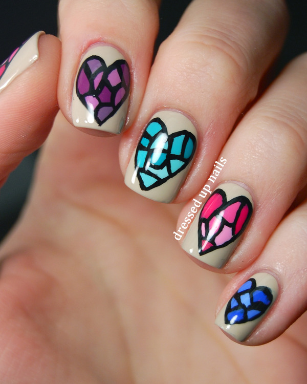 Stained Glass Heart Nails Whitney Ss Dressedupnails
