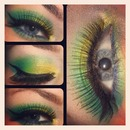 Yellow and Green with Blue Liner