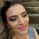 Colorful makeup with Sleek