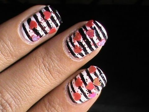valentines day nails art designs  cute heart nail polish