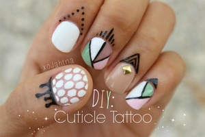 "DIY Cuticle tattoo on my youtube channel ""xoJahtna"""