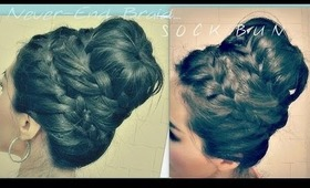 ★How to:NEVER ENDING FRENCH BRAID SOCK BUN TUTORIAL FOR MEDIUM LONG HAIR | HAIRSTYLES/UPDOS Prom