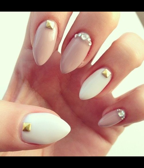 Nail Cream: Cream And White Gel Stiletto Nails With Studs And