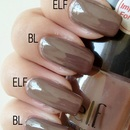 Color Compare: Butter London Teetotal vs. ELF Smoky Brown
