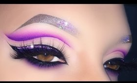 Sexy Purple Cut Crease with Glitter Eyeliner - Makeup Tutorial For Valentine's Day
