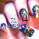 80S Color Splatter Nails